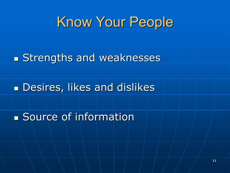 Know Your People Strengths and weaknesses Strengths and weaknesses Desires, likes and dislikes Desires, likes and dislikes Source of information Source of information 11