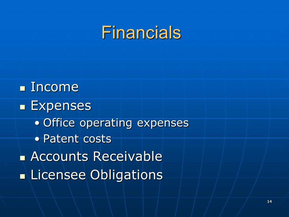 Financials Financials Income Income Expenses Expenses Office operating expensesOffice operating expenses Patent costsPatent costs Accounts Receivable