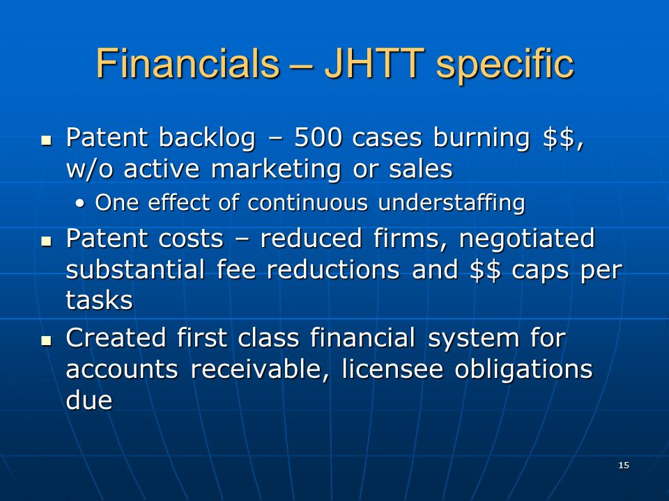 Financials – JHTT specific Patent backlog – 500 cases burning $$, w/o active marketing or sales Patent backlog – 500 cases burning $$, w/o active mark