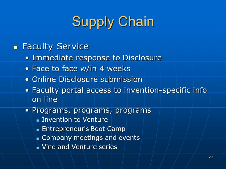 Supply Chain Faculty Service Faculty Service Immediate response to DisclosureImmediate response to Disclosure Face to face w/in 4 weeksFace to face w/