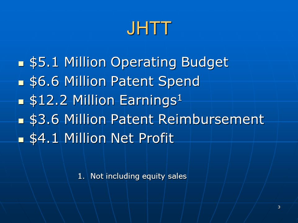 JHTT $5.1 Million Operating Budget $5.1 Million Operating Budget $6.6 Million Patent Spend $6.6 Million Patent Spend $12.2 Million Earnings 1 $12.2 Mi