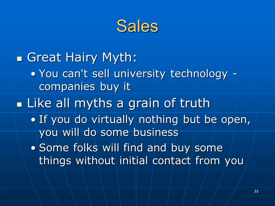 Sales Great Hairy Myth: Great Hairy Myth: You can't sell university technology - companies buy itYou can't sell university technology - companies buy