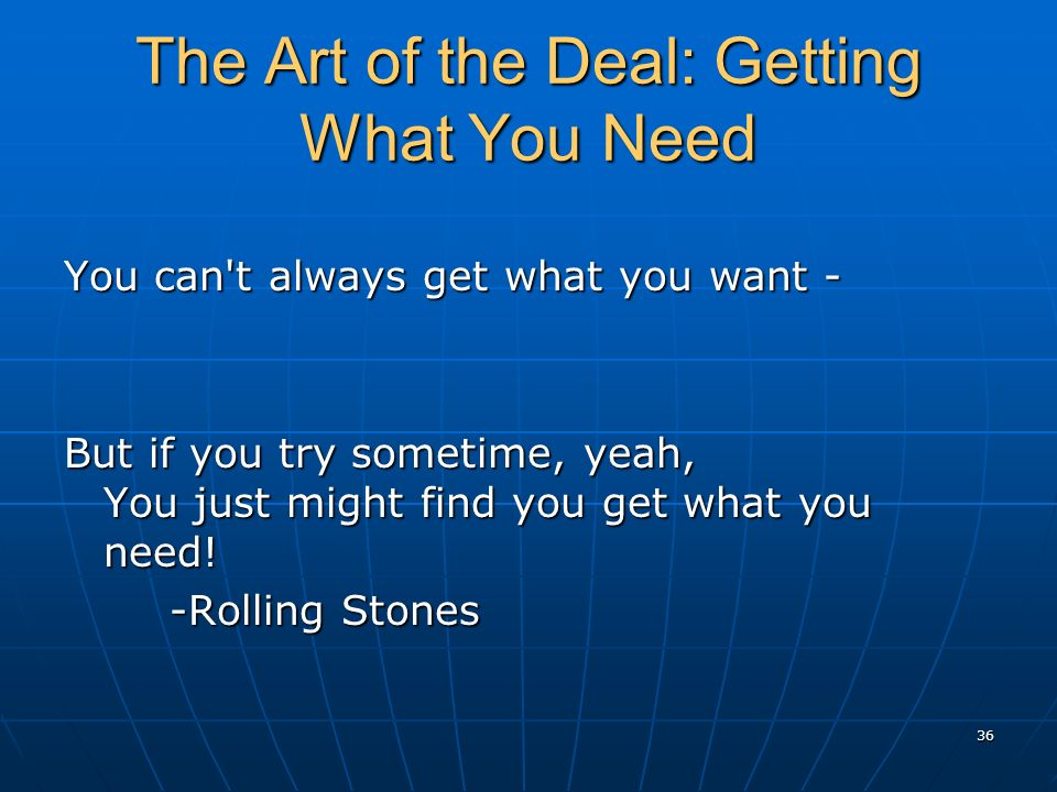 The Art of the Deal: Getting What You Need You can t always get what you want - But if you try sometime, yeah, You just might find you get what you need.
