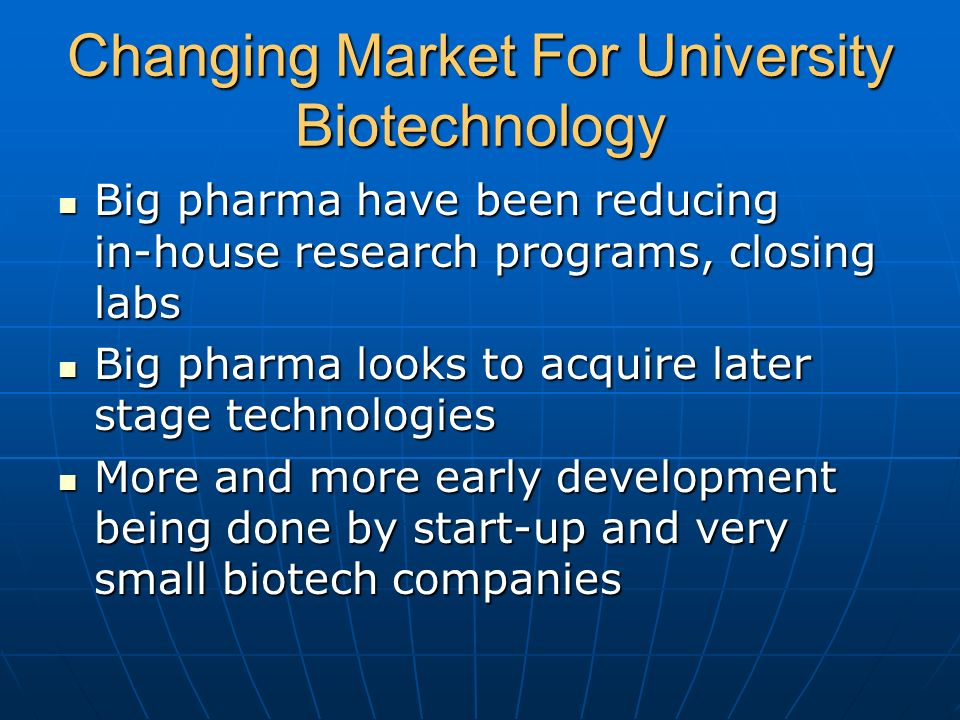 Changing Market For University Biotechnology Big pharma have been reducing in-house research programs, closing labs Big pharma have been reducing in-h