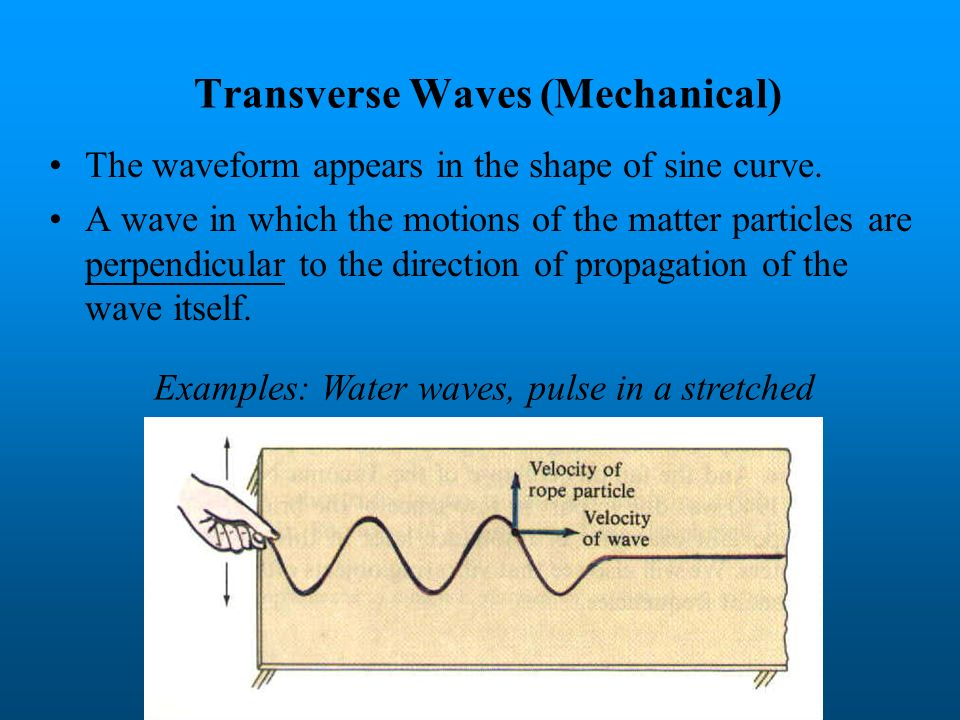 Mechanical Waves A material medium is necessary for the transmission for mechanical waves. Mechanical waves cannot travel through vacuum. A disturbanc
