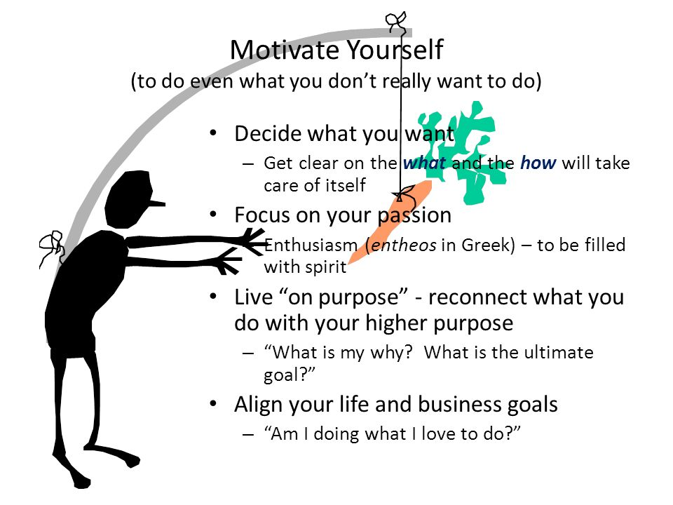 Motivate Yourself (to do even what you dont really want to do) Decide what you want – Get clear on the what and the how will take care of itself Focus on your passion – Enthusiasm (entheos in Greek) – to be filled with spirit Live on purpose - reconnect what you do with your higher purpose – What is my why.