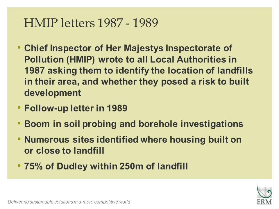 Delivering sustainable solutions in a more competitive world HMIP letters 1987 - 1989 Chief Inspector of Her Majestys Inspectorate of Pollution (HMIP)