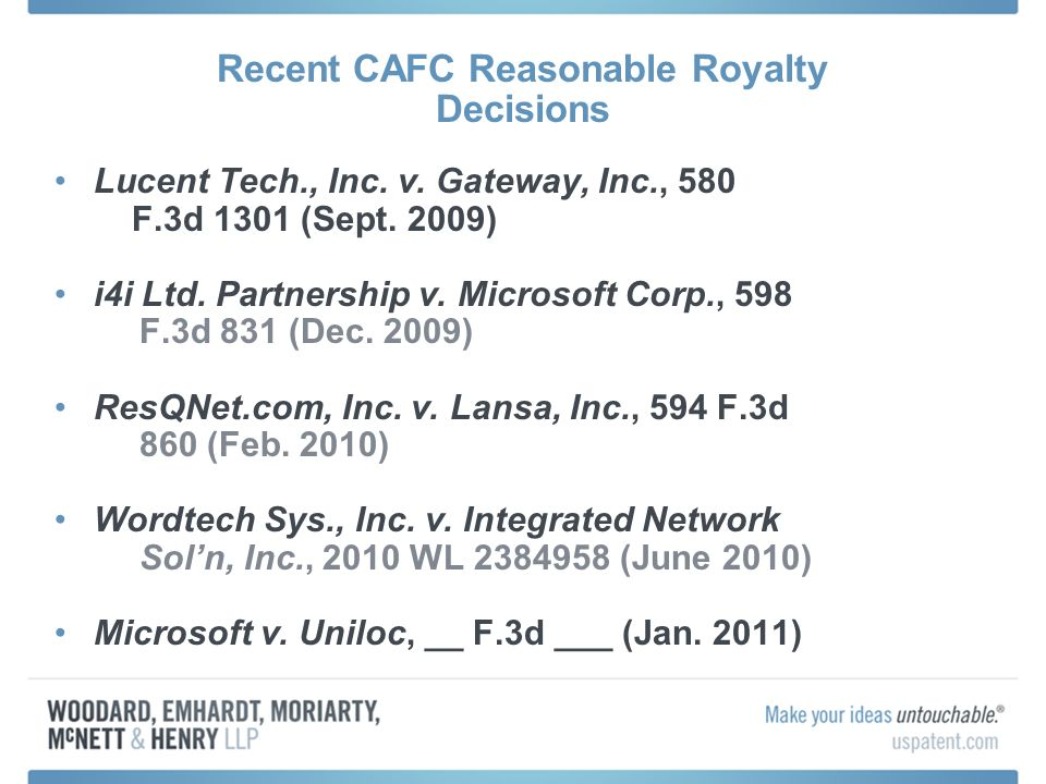 Recent CAFC Reasonable Royalty Decisions Lucent Tech., Inc.