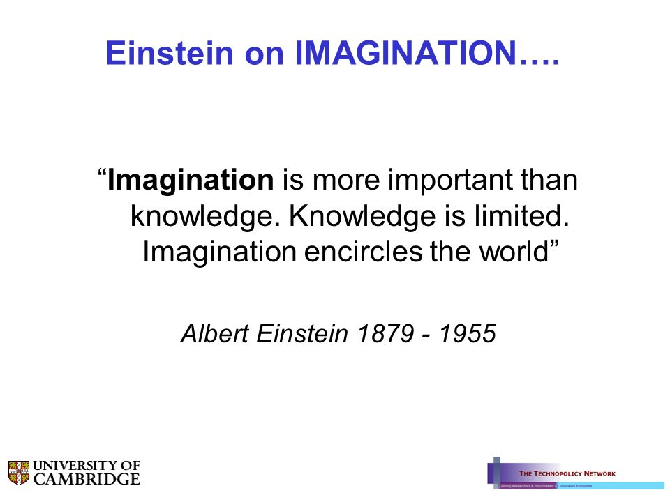Einstein on IMAGINATION…. Imagination is more important than knowledge. Knowledge is limited. Imagination encircles the world Albert Einstein 1879 - 1
