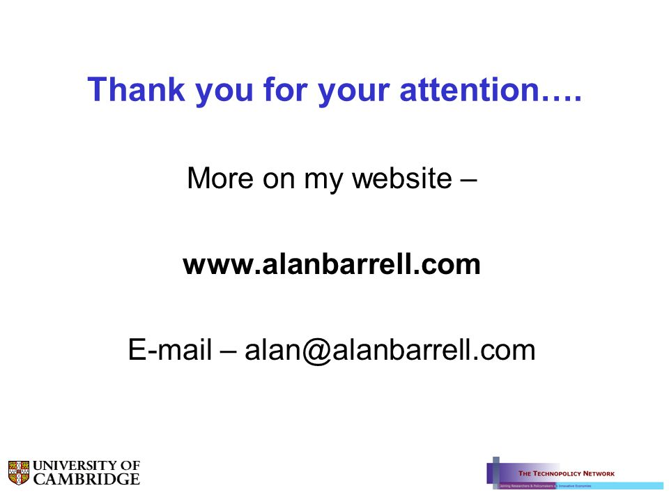Thank you for your attention…. More on my website – www.alanbarrell.com E-mail – alan@alanbarrell.com