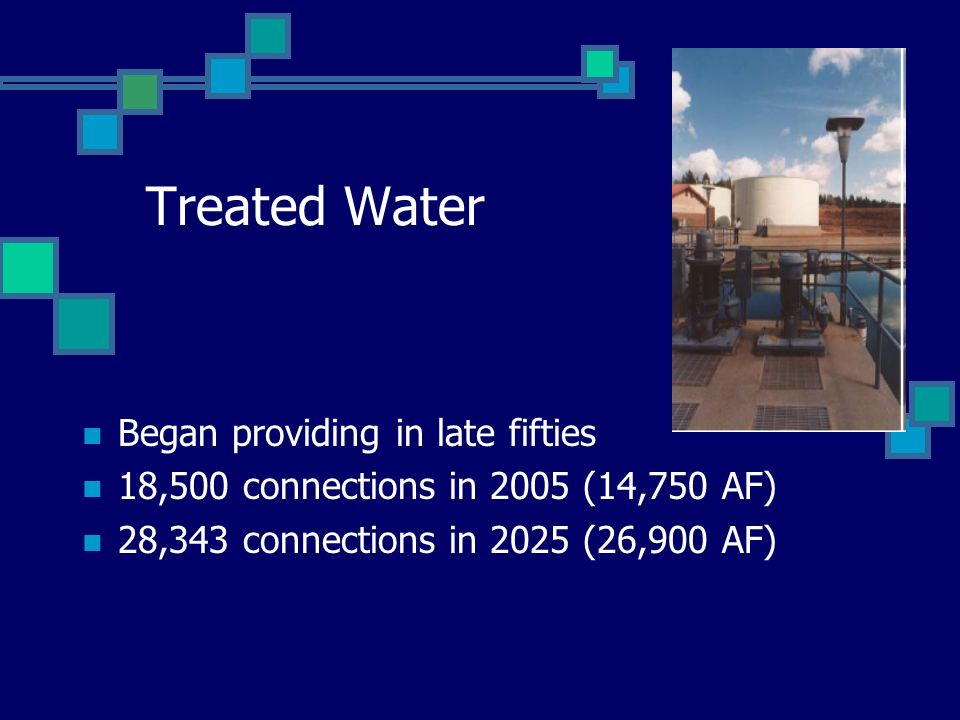 Treated Water Began providing in late fifties 18,500 connections in 2005 (14,750 AF) 28,343 connections in 2025 (26,900 AF)