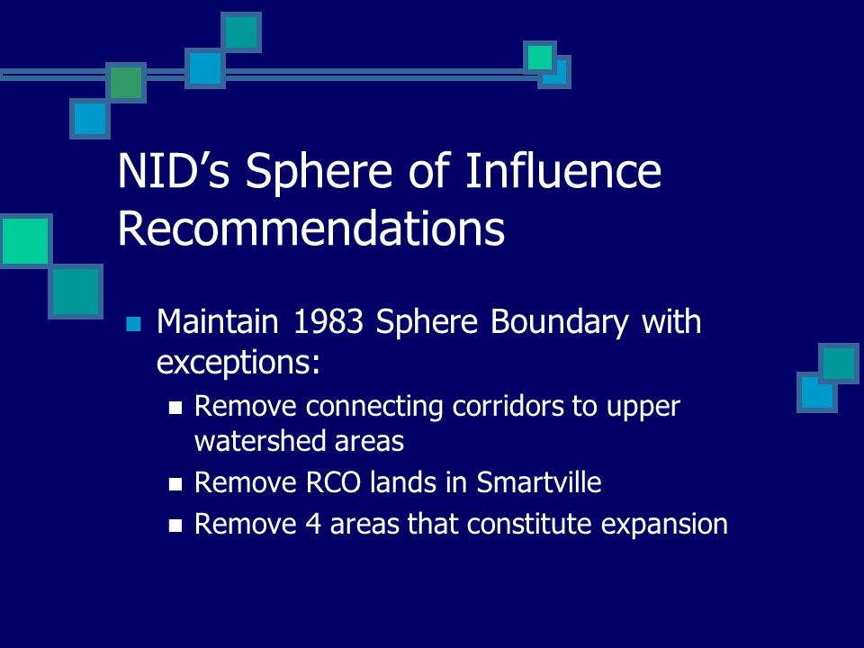 NIDs Sphere of Influence Recommendations Maintain 1983 Sphere Boundary with exceptions: Remove connecting corridors to upper watershed areas Remove RC