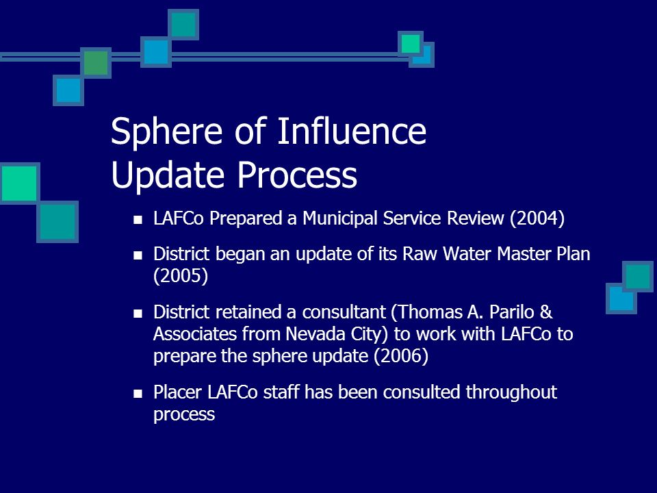 Sphere of Influence Update Process LAFCo Prepared a Municipal Service Review (2004) District began an update of its Raw Water Master Plan (2005) Distr