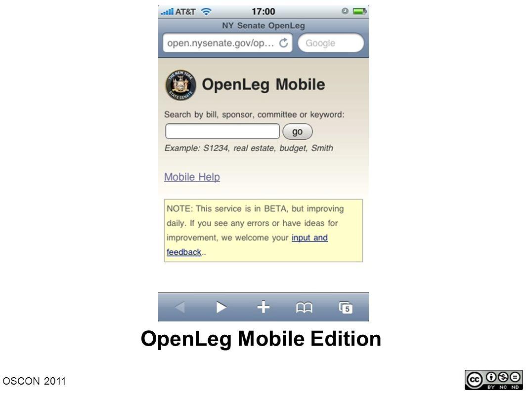 OpenLeg Mobile Edition OSCON 2011