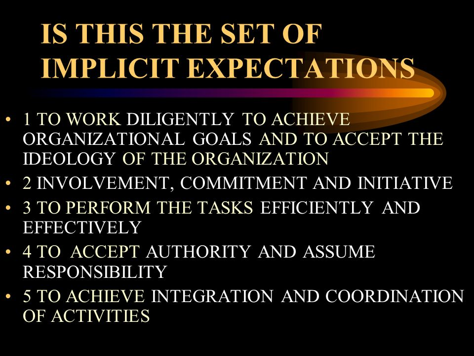 IS THIS THE SET OF IMPLICIT EXPECTATIONS 1 TO WORK DILIGENTLY TO ACHIEVE ORGANIZATIONAL GOALS AND TO ACCEPT THE IDEOLOGY OF THE ORGANIZATION 2 INVOLVE