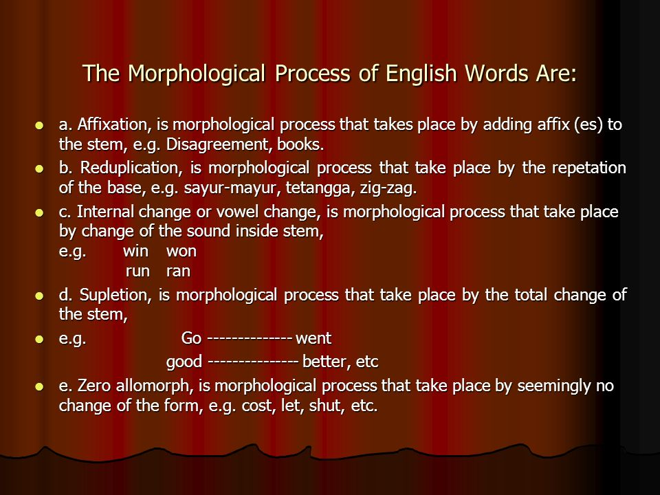 The Morphological Process of English Words Are: a.