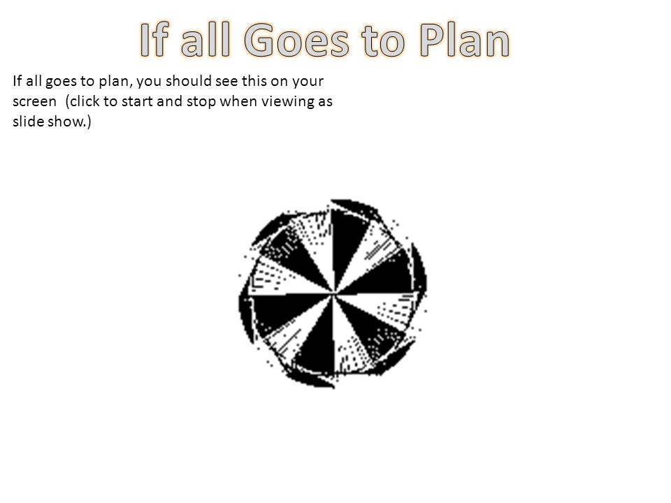 If all goes to plan, you should see this on your screen (click to start and stop when viewing as slide show.)