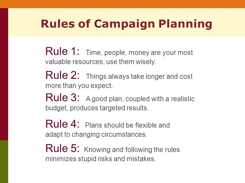 Rules of Campaign Planning Rule 1: Time, people, money are your most valuable resources; use them wisely.