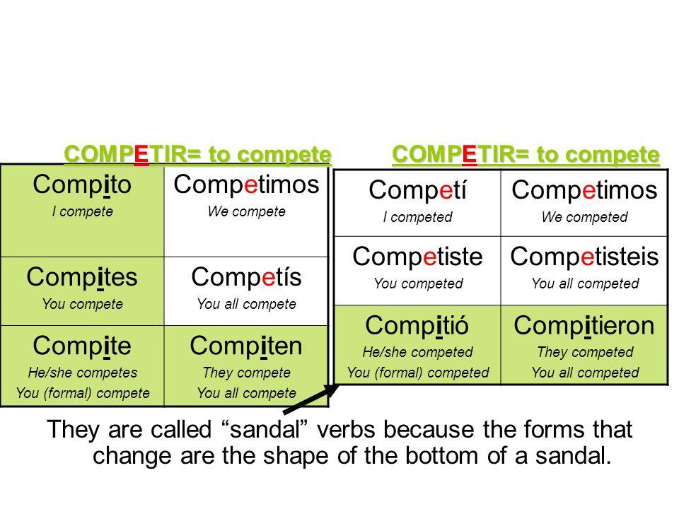 Compito I compete Competimos We compete Compites You compete Competís You all compete Compite He/she competes You (formal) compete Compiten They compe