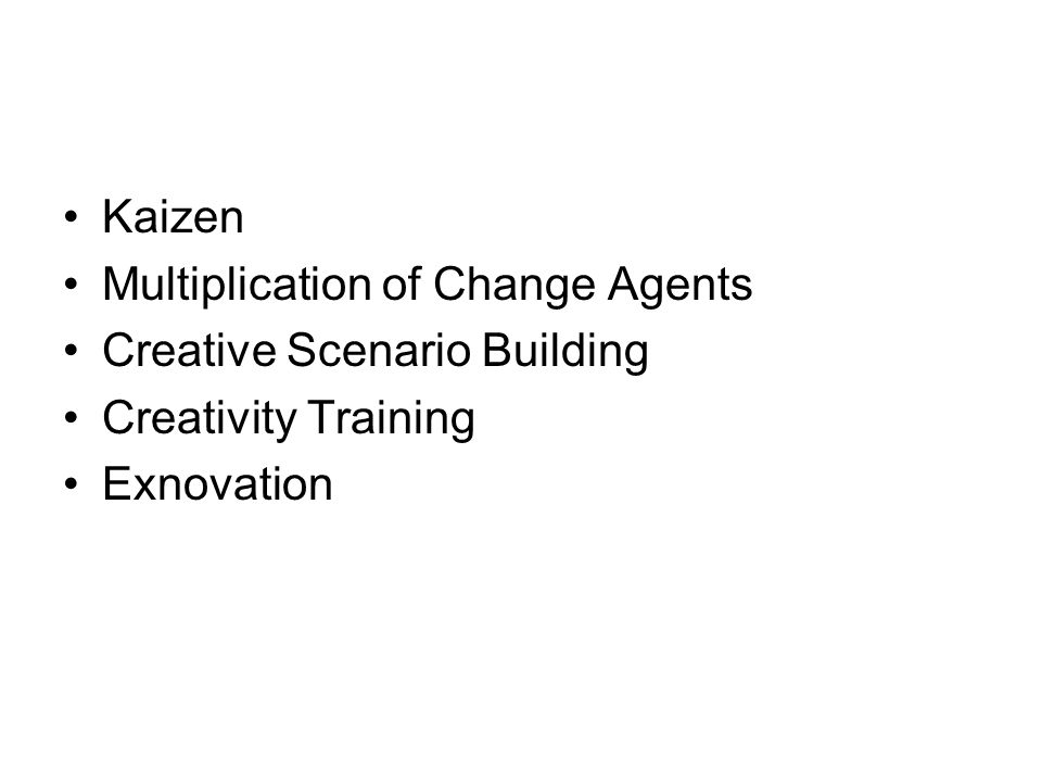 Kaizen Multiplication of Change Agents Creative Scenario Building Creativity Training Exnovation