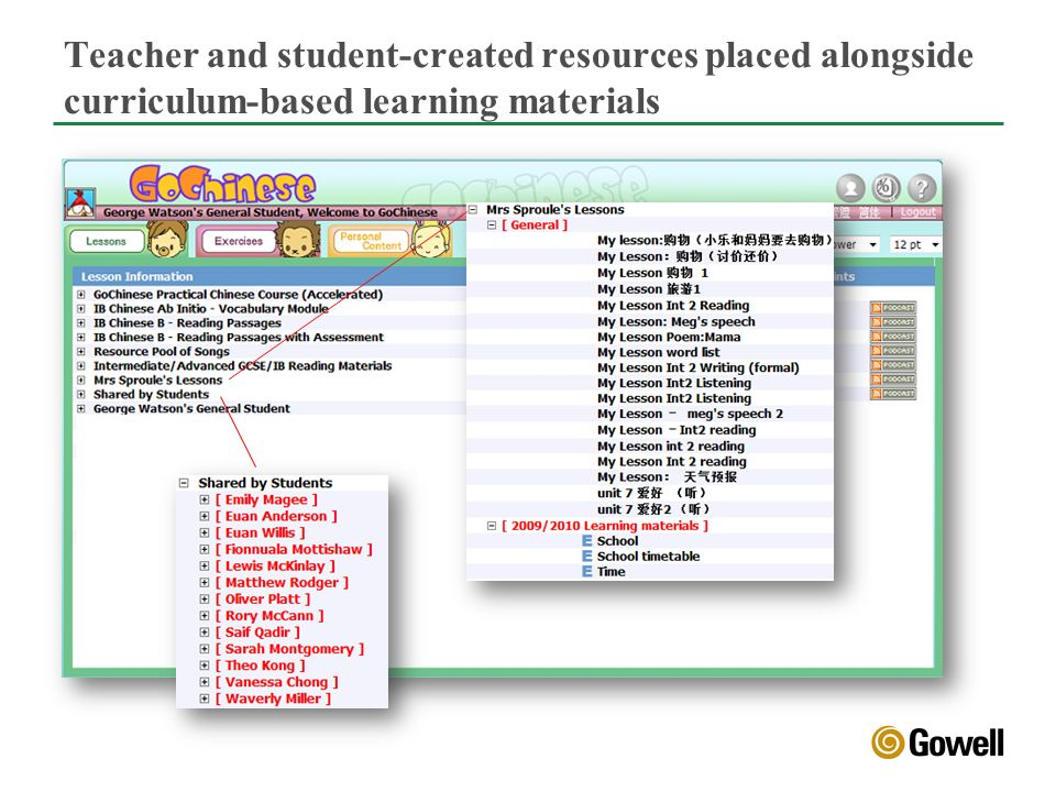 Teacher and student-created resources placed alongside curriculum-based learning materials