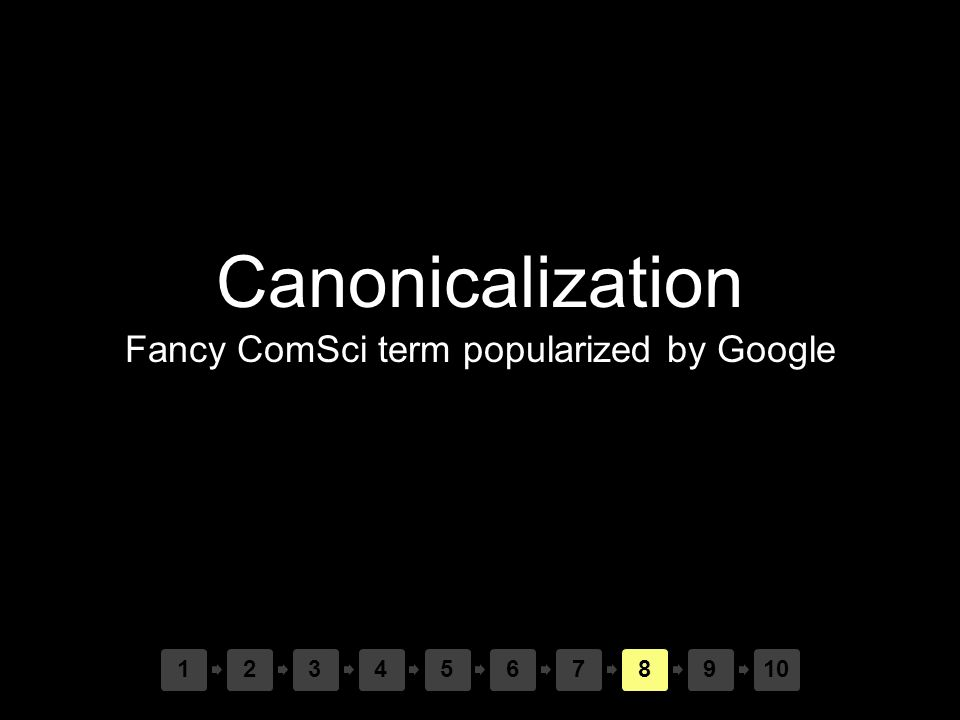 Canonicalization Fancy ComSci term popularized by Google