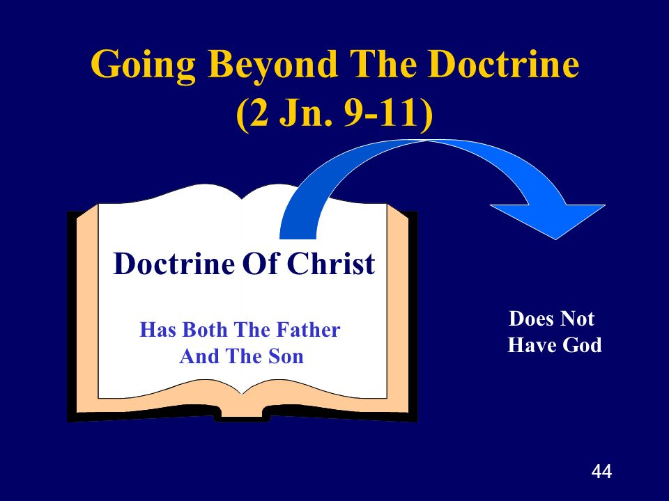 44 Going Beyond The Doctrine (2 Jn. 9-11) The Doctrine Of Christ Does Not Have God Doctrine Of Christ Has Both The Father And The Son