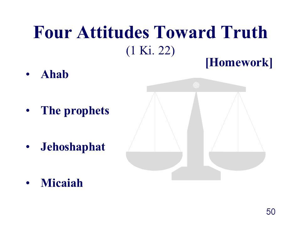 50 Four Attitudes Toward Truth (1 Ki. 22) Ahab The prophets Jehoshaphat Micaiah [Homework]