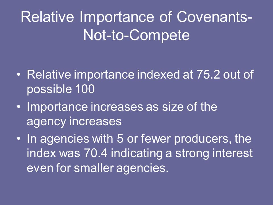 Relative Importance of Covenants- Not-to-Compete Relative importance indexed at 75.2 out of possible 100 Importance increases as size of the agency increases In agencies with 5 or fewer producers, the index was 70.4 indicating a strong interest even for smaller agencies.