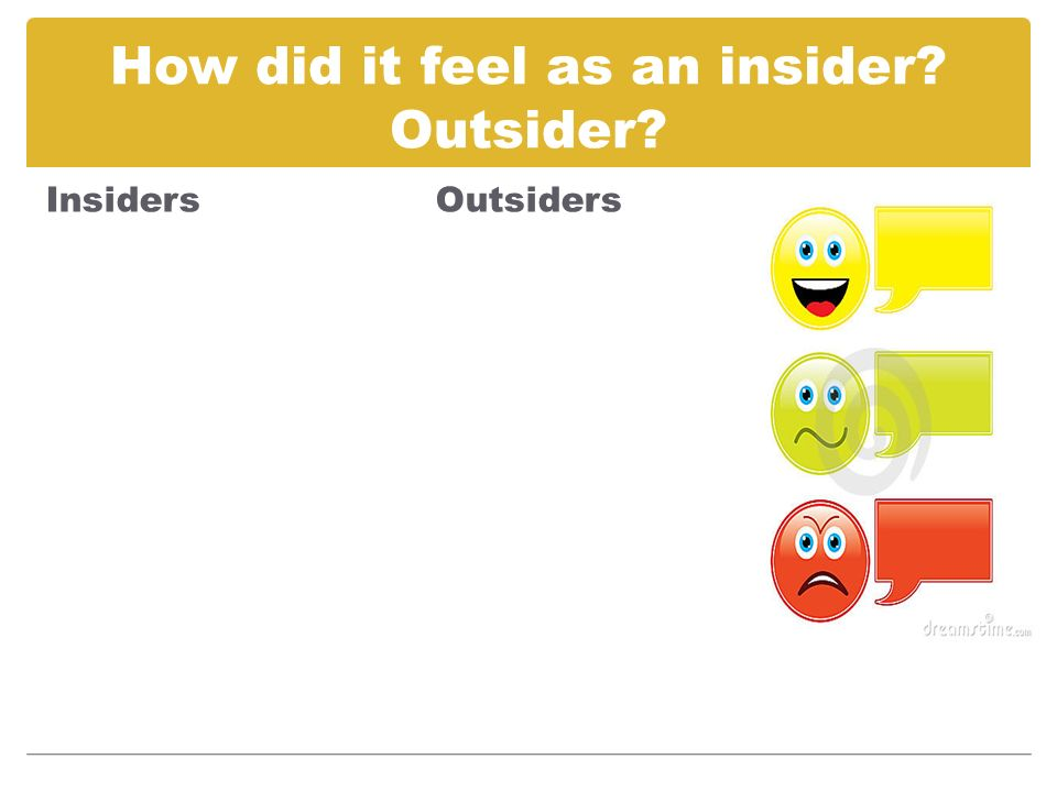 How did it feel as an insider Outsider Insiders Outsiders
