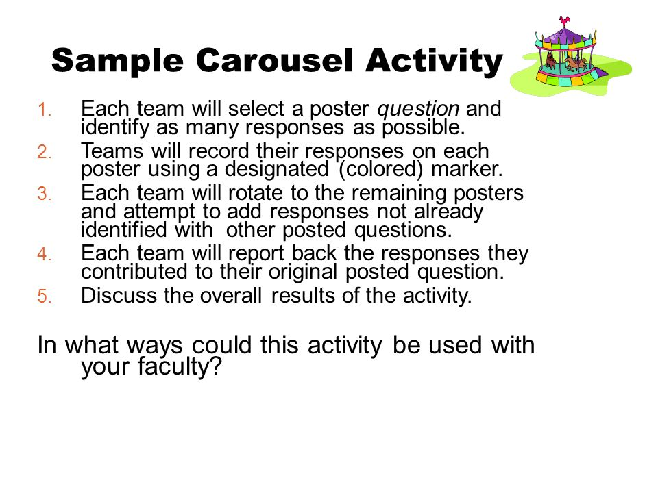 1. Each team will select a poster question and identify as many responses as possible.
