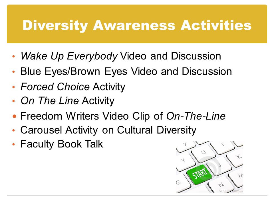 Diversity Awareness Activities Wake Up Everybody Video and Discussion Blue Eyes/Brown Eyes Video and Discussion Forced Choice Activity On The Line Activity Freedom Writers Video Clip of On-The-Line Carousel Activity on Cultural Diversity Faculty Book Talk