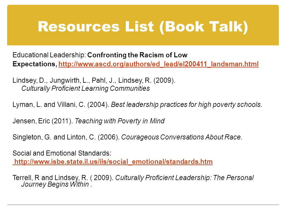 Resources List (Book Talk) Educational Leadership: Confronting the Racism of Low Expectations, http://www.ascd.org/authors/ed_lead/el200411_landsman.h