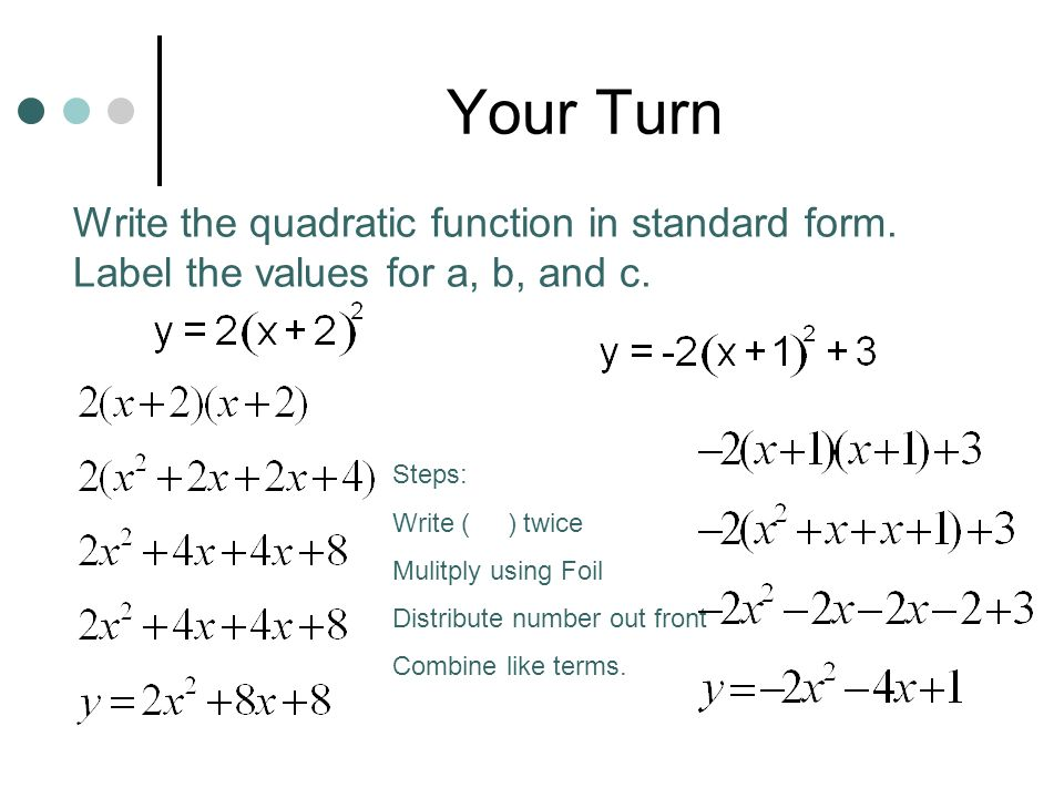Quadratic Function To Standard Form Calculator