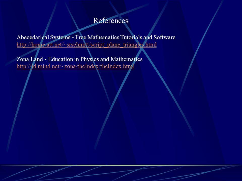 References Abecedarical Systems - Free Mathematics Tutorials and Software http://home.att.net/~srschmitt/script_plane_triangles.html Zona Land - Educa