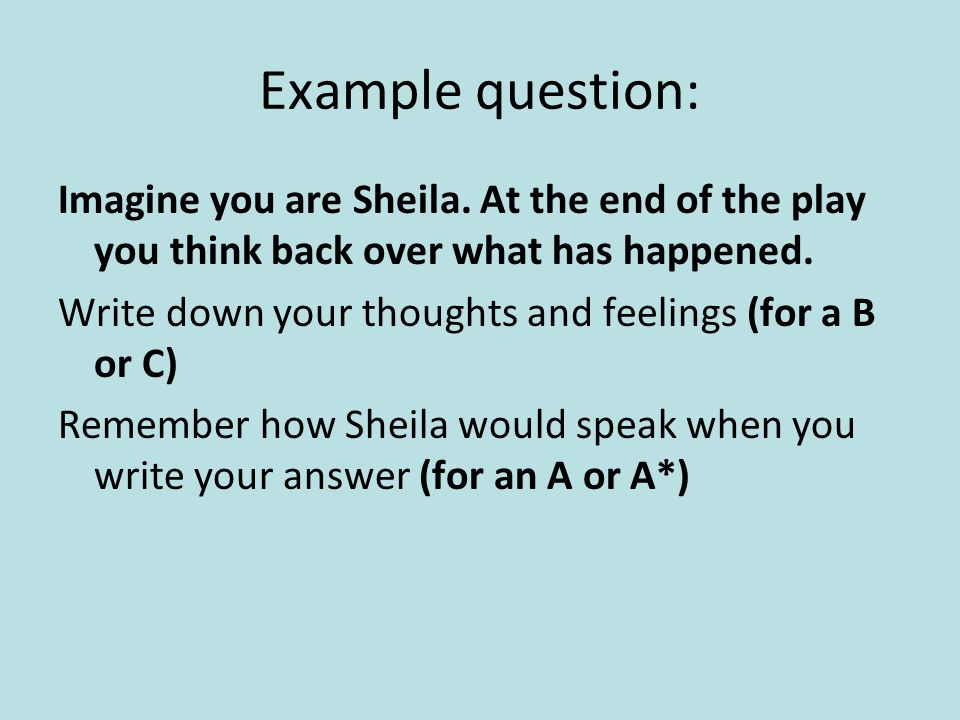 Example question: Imagine you are Sheila.