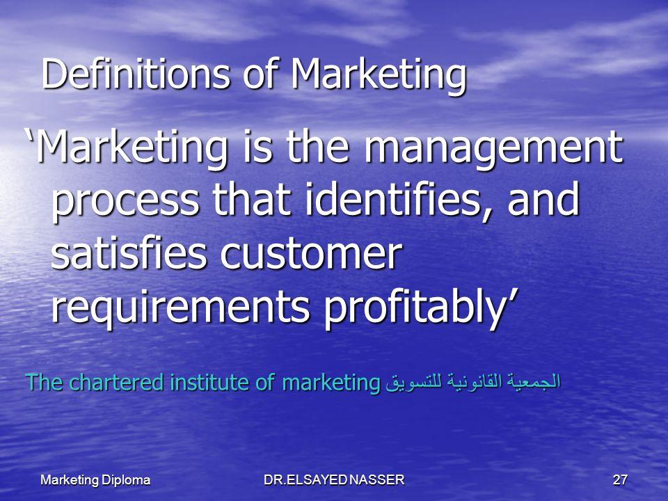 Marketing DiplomaDR.ELSAYED NASSER26 مفهوم التسويق هو عملية تخطيط وتنفيذ مفهوم الأفكار والسلع والخدمات وتسعيرها وترويجها وتوزيعها لإيجاد عمليات تبادل