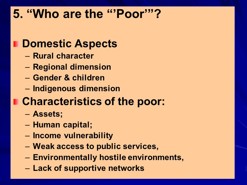 5. Who are the Poor? Domestic Aspects – –Rural character – –Regional dimension – –Gender & children – –Indigenous dimension Characteristics of the poo