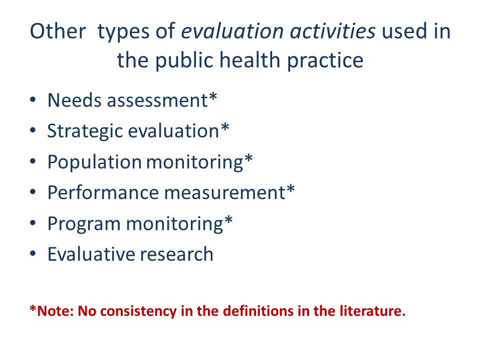Other types of evaluation activities used in the public health practice Needs assessment* Strategic evaluation* Population monitoring* Performance mea