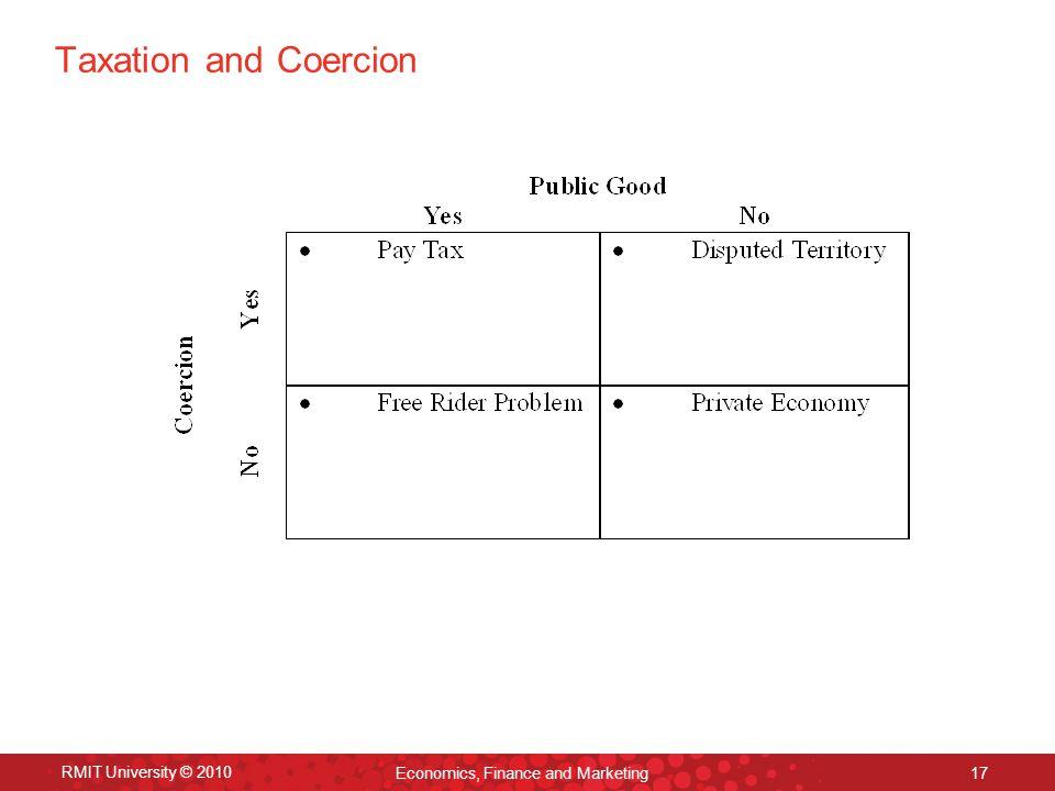 RMIT University © 2010 Economics, Finance and Marketing 17 Taxation and Coercion
