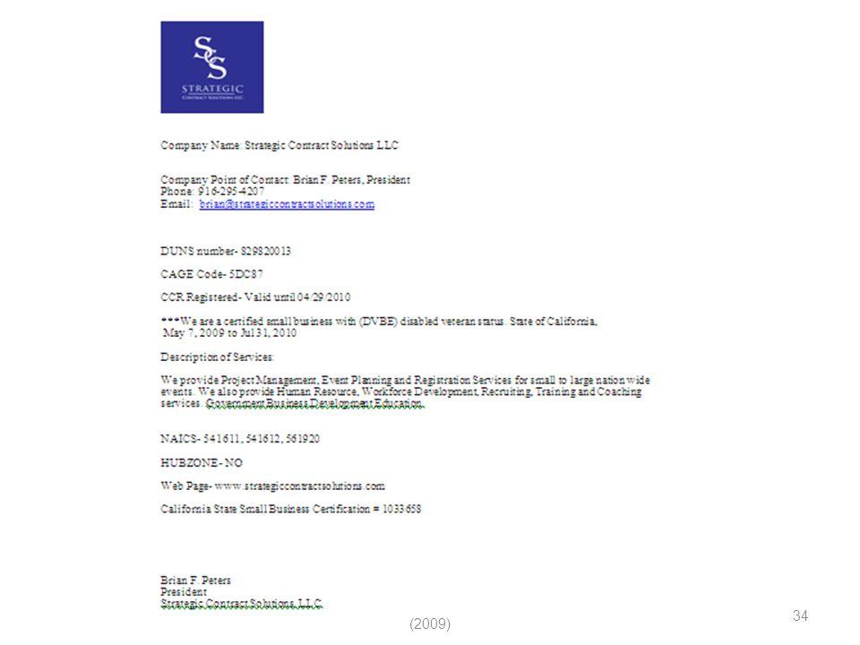 (c) Strategic Contract Solutions LLC (2009) 34