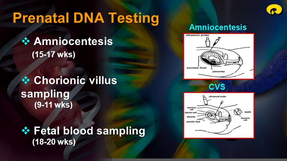 Prenatal DNA Testing Amniocentesis Amniocentesis (15-17 wks) (15-17 wks) Chorionic villus sampling Chorionic villus sampling (9-11 wks) (9-11 wks) Fet