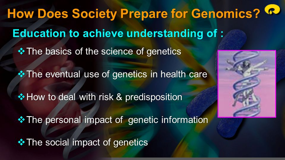 How Does Society Prepare for Genomics? Education to achieve understanding of : The basics of the science of genetics The basics of the science of gene