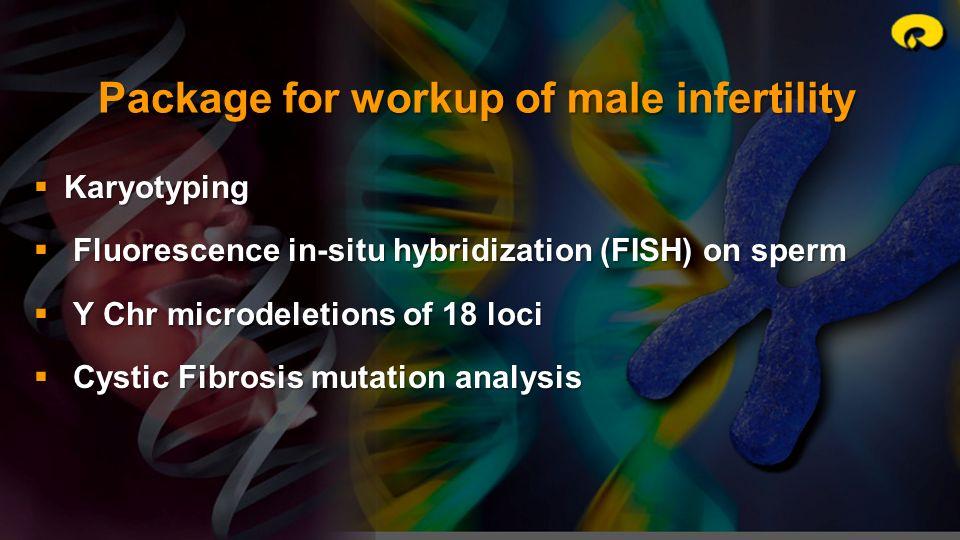 Karyotyping Karyotyping Fluorescence in-situ hybridization (FISH) on sperm Fluorescence in-situ hybridization (FISH) on sperm Y Chr microdeletions of