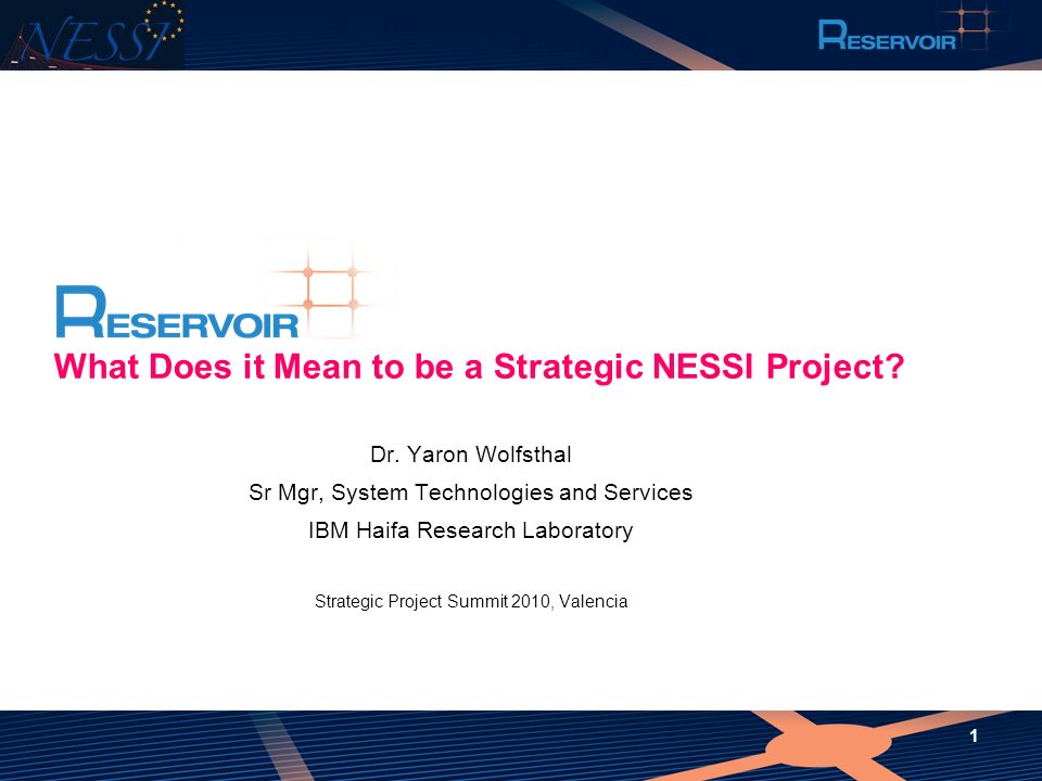 1 What Does it Mean to be a Strategic NESSI Project? Dr. Yaron Wolfsthal Sr Mgr, System Technologies and Services IBM Haifa Research Laboratory Strate