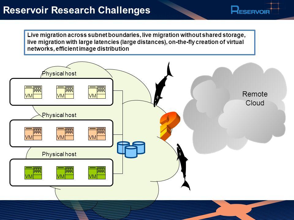 Reservoir Research Challenges Remote Cloud Live migration across subnet boundaries, live migration without shared storage, live migration with large l