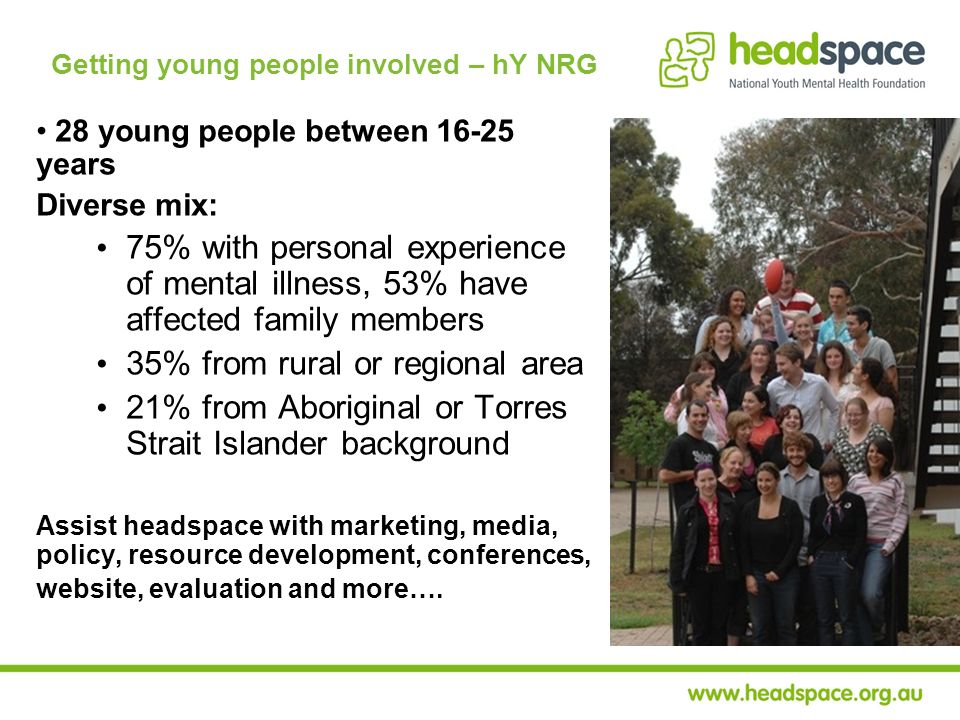 Getting young people involved – hY NRG 28 young people between 16-25 years Diverse mix: 75% with personal experience of mental illness, 53% have affec