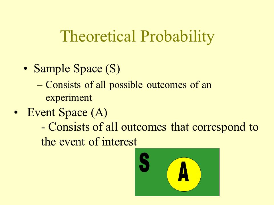 Theoretical Probability Sample Space (S) –Consists of all possible outcomes of an experiment Event Space (A) - Consists of all outcomes that correspon