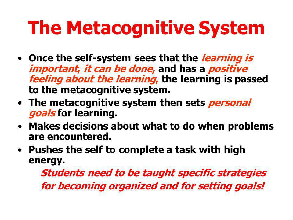 The Metacognitive System Once the self-system sees that the learning is important, it can be done, and has a positive feeling about the learning, the