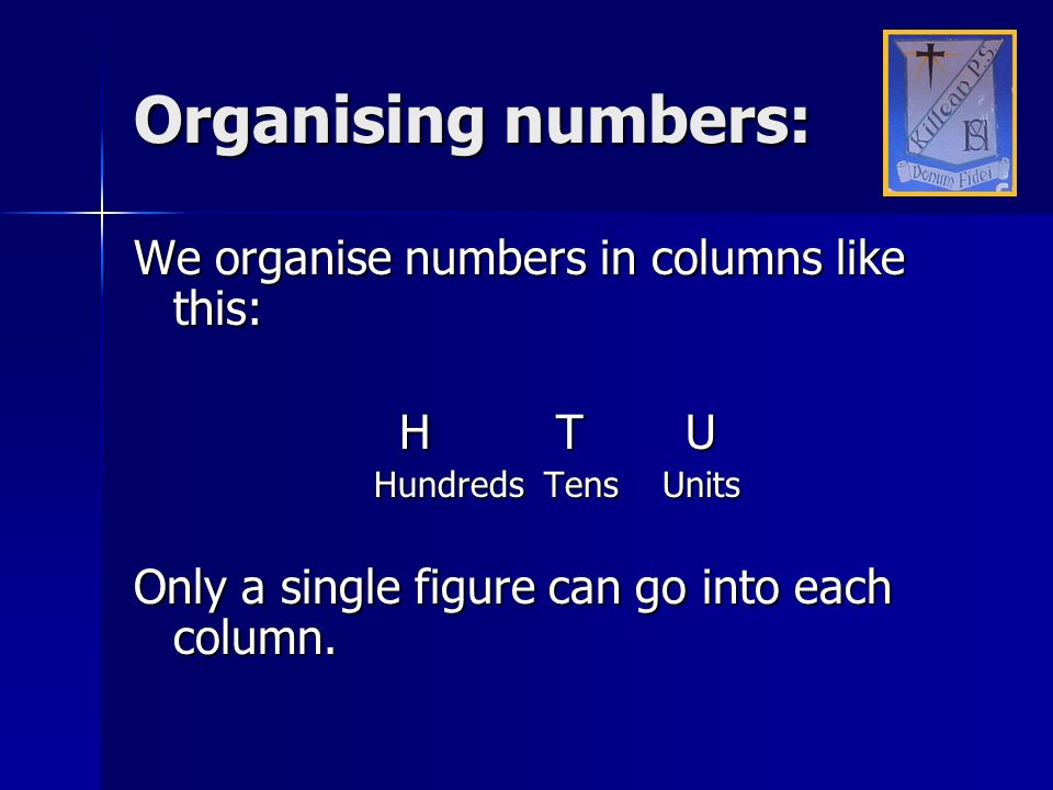 Organising numbers: We organise numbers in columns like this: H T U Hundreds Tens Units Only a single figure can go into each column.